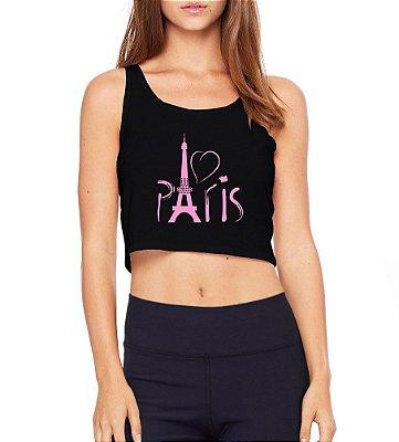 Top Cropped Paris Torre Eifel Rosa Preto Cavado  - Modelos Femininos Comprar Online Camiseta Regata Roupa da Moda