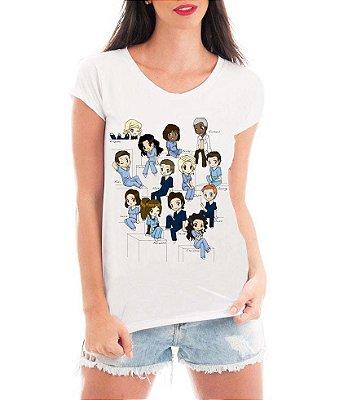 Camiseta Feminina Blusa Grey's Anatomy Personagens Medicina - Seriado/ Série/ Customizadas/ Estampadas/ Camiseteria/ Estamparia/ Estampar/ Personalizar/ Customizar/ Criar/ Camisa Blusas