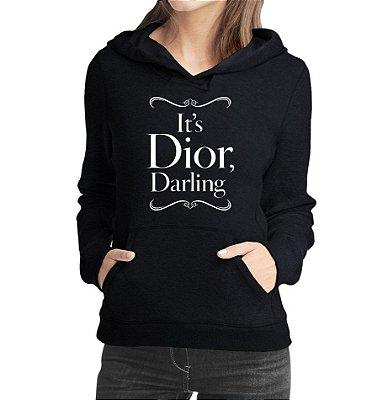 Moletom Feminino Dior Darling Branco - Moletons Personalizados Blusa/ Casacos Baratos/ Blusão/ Jaqueta Canguru