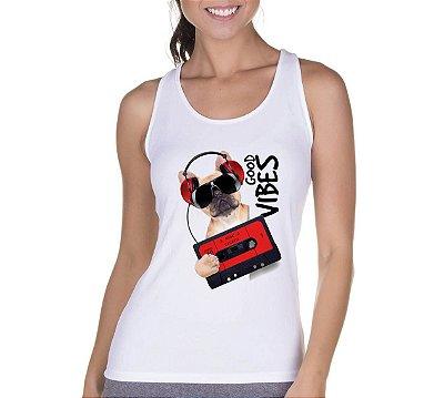 Regata Feminina Branca Good Vibes Dod Fita k7 - Personalizadas/ Customizadas/ Camiseteria/ Camisa T-shirts Baratas Modelos Legais Loja Online