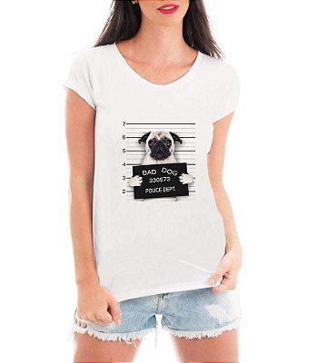 T-shirt Feminina Branca Bad Dog Pug Cachorro Preso - Estampadas Camisa Blusas Baratas Modelos Legais Loja Online