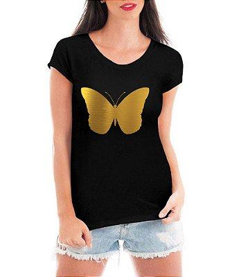 T-shirt Feminina Borboleta Dourada - Personalizadas/ Customizadas/ Estampadas/ Camiseteria/ Estamparia/ Estampar/ Personalizar/ Customizar/ Criar/ Camisa Blusas