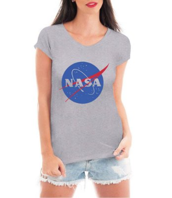 Camiseta Nasa Feminina Cinza Branco - Personalizadas/ Customizadas/ Estampadas/ Camiseteria/ Estamparia/ Estampar/ Personalizar/ Customizar/ Criar/ Camisa Blusas Baratas Modelos Legais Loja Online