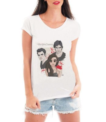 T-shirt Feminina The Vampire Diares Série Seriado Personagens - Personalizadas/ Customizadas/ Estampadas/ Camiseteria/ Estamparia/ Estampar/ Personalizar/ Customizar/ Criar/ Camisa Blusas Baratas Modelos Legais Loja Online