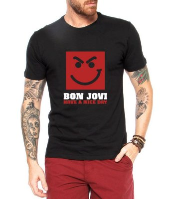 Camiseta Bon Jovi Masculina Preta Have a Nice Day - Personalizadas/ Customizadas/ Estampadas/ Camiseteria/ Estamparia/ Estampar/ Personalizar/ Customizar/ Criar/ Camisa Blusas Baratas Modelos Legais Loja Online
