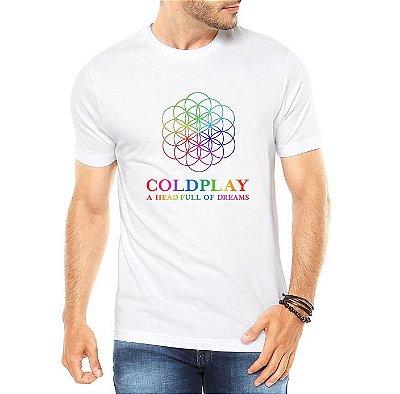 Camiseta Coldplay Show Tour Brasil Head Full Of Dreams Branca Masculina - Personalizadas/ Customizadas/ Estampadas/ Camiseteria/ Estamparia/ Estampar/ Personalizar/ Customizar/ Criar/ Camisa Blusas Baratas Modelos Legais Loja Online