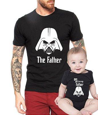 Camiseta Masculina Preta e Body Tal Pai Tal Filho Dad You Are My Father Star Wars Dia dos Pais - Personalizadas/ Customizadas/ Estampadas/ Camiseteria/ Estamparia/ Estampar/ Personalizar/ Customizar/ Criar/ Camisa Blusas Baratas Modelos Legais Loja Online