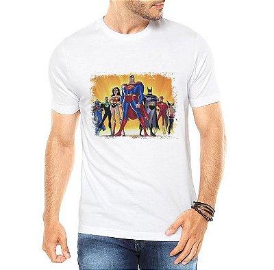 Camiseta Branca Masculina Liga da Justiça Super Heróis - Personalizadas/ Customizadas/ Estampadas/ Camiseteria/ Estamparia/ Estampar/ Personalizar/ Customizar/ Criar/ Camisa Blusas Baratas Modelos Legais Loja Online