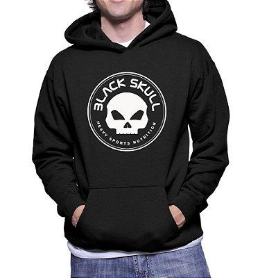 Moletom Masculino Black Skull Caveira - Moletons Personalizados Blusa/ Casacos Baratos/ Blusão/ Jaqueta Canguru/ Blusa de Frio