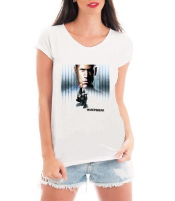 Camiseta Feminina Prison Break Série Seriado - Personalizadas/ Customizadas/ Estampadas/ Camiseteria/ Estamparia/ Estampar/ Personalizar/ Customizar/ Criar/ Camisa Blusas Baratas Modelos Legais Loja Online