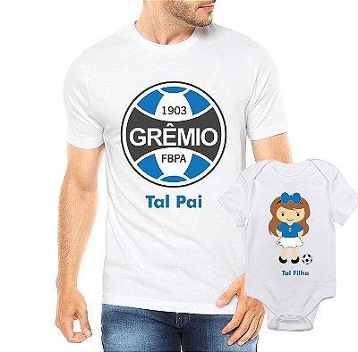 Camiseta Tal Pai tal filha Grêmio Futbol Futebol Time Dia Dos Pais - Personalizadas/ Customizadas/ Estampadas/ Camiseteria/ Estamparia/ Estampar/ Personalizar/ Customizar/ Criar/ Camisa Blusas Baratas Modelos Legais Loja Online