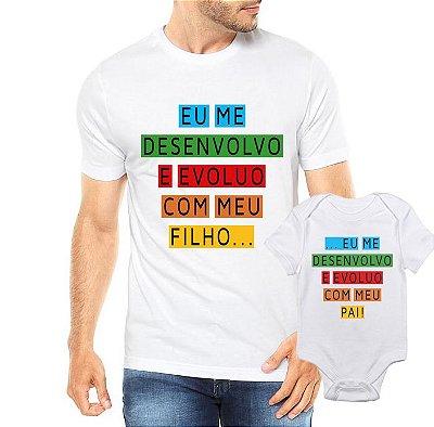Camiseta Tal Pai tal filho eu me desenvolvo com meu pai Dia Dos Pais - Personalizadas/ Customizadas/ Estampadas/ Camiseteria/ Estamparia/ Estampar/ Personalizar/ Customizar/ Criar/ Camisa Blusas Baratas Modelos Legais Loja Online