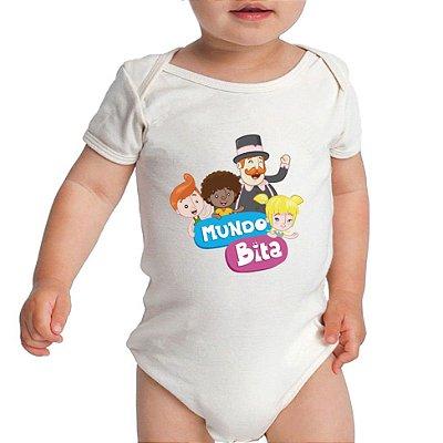 Body Branco Desenho Mundo Bita  - Roupinhas Macacão Infantil Bodies Roupa Manga Curta Menino Menina Personalizados
