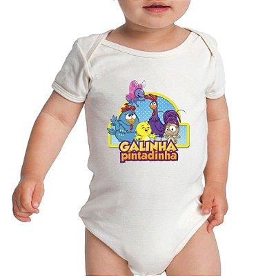 Modelo Body Branco Desenho Galinha Pintadinha - Roupinhas Macacão Infantil Bodies Roupa Manga Curta Menino Menina Personalizados