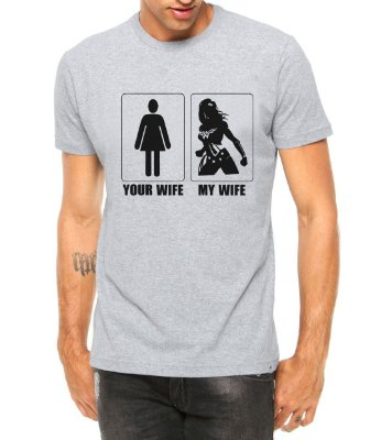 Camiseta Masculina Your Wife My Wife Divertidas - Personalizadas/ Customizadas/ Estampadas/ Camiseteria/ Estamparia/ Estampar/ Personalizar/ Customizar/ Criar/ Camisa Blusas Baratas Modelos Legais Loja Online