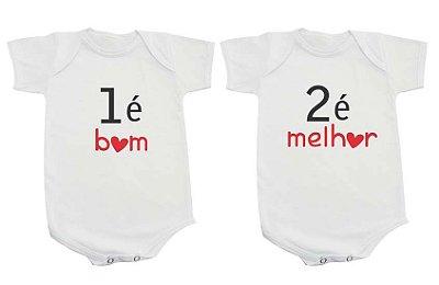 Body Bebe Gemeos Frases Engraçadas 1 é bom 2 é melhor Irmãos - Roupinhas Macacão Infantil Bebe Roupa Manga Curta Menino Menina Personalizados
