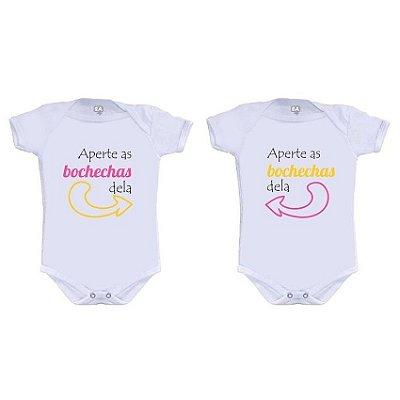 Body Bebe Gemeas Irmãs Bochechas Frases Engraçadas - Roupinhas Macacão Infantil Bebe Roupa Manga Curta Menino Menina Personalizados