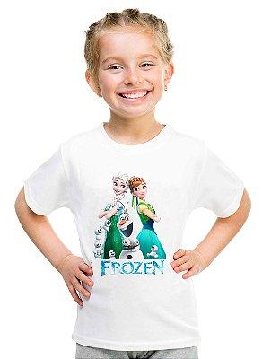 Camiseta Infantil Menina Frozen Desenho Elsa Ana e Olaf - Personalizadas/ Customizadas/ Estampadas/ Camiseteria/ Estamparia/ Estampar/ Personalizar/ Customizar/ Criar/ Camisa Blusas Baratas Modelos Legais Loja Online
