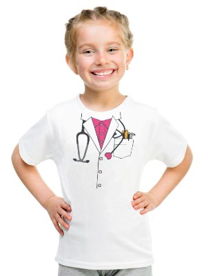 Camiseta Infantil Menina Médica Doutora - Personalizadas/ Customizadas/ Estampadas/ Camiseteria/ Estamparia/ Estampar/ Personalizar/ Customizar/ Criar/ Camisa Blusas Baratas Modelos Legais Loja Online