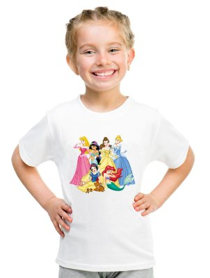 Camiseta Infantil Menina Princesas Desenho Disney - Personalizadas/ Customizadas/ Estampadas/ Camiseteria/ Estamparia/ Estampar/ Personalizar/ Customizar/ Criar/ Camisa Blusas Baratas Modelos Legais Loja Online