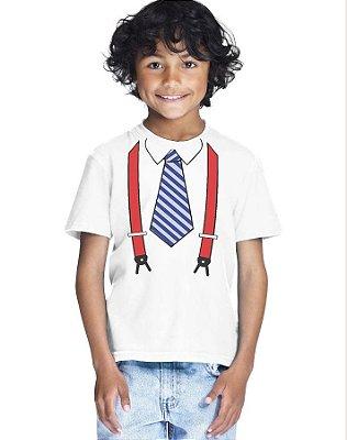 Camiseta Infantil Menino Gravata e Suspensórios - Personalizadas/ Customizadas/ Estampadas/ Camiseteria/ Estamparia/ Estampar/ Personalizar/ Customizar/ Criar/ Camisa Blusas Baratas Modelos Legais Loja Online