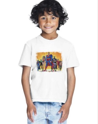 Camiseta Infantil Menino Liga Da Justiça 2 - Personalizadas/ Customizadas/ Estampadas/ Camiseteria/ Estamparia/ Estampar/ Personalizar/ Customizar/ Criar/ Camisa Blusas Baratas Modelos Legais Loja Online