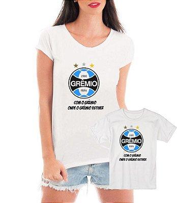 Camisetas Tal Mãe Tal Filha ou Filho Grêmio Time Futebol - Personalizadas/ Customizadas/ Estampadas/ Camiseteria/ Estamparia/ Estampar/ Personalizar/ Customizar/ Criar/ Camisa Blusas Baratas Modelos Legais Loja Online