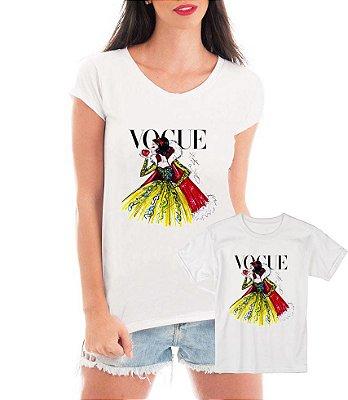 Camisetas Tal Mãe Tal Filha Vogue Branca De Neve - Personalizadas/ Customizadas/ Estampadas/ Camiseteria/ Estamparia/ Estampar/ Personalizar/ Customizar/ Criar/ Camisa Blusas Baratas Modelos Legais Loja Online