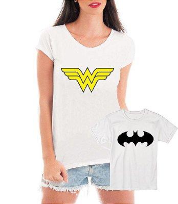 Camisetas Tal Mãe Tal Filho Batman e Mulher Maravilha - Personalizadas/ Customizadas/ Estampadas/ Camiseteria/ Estamparia/ Estampar/ Personalizar/ Customizar/ Criar/ Camisa Blusas Baratas Modelos Legais Loja Online