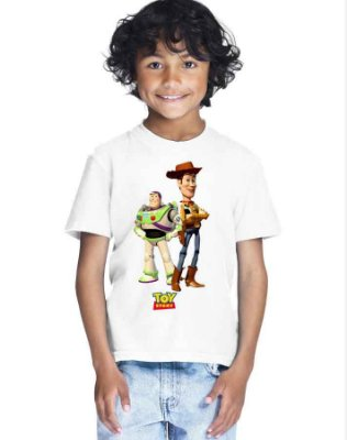 Camiseta Infantil Branca Menino Toy Story Filme Desenho - Personalizadas/ Customizadas/ Estampadas/ Camiseteria/ Estamparia/ Estampar/ Personalizar/ Customizar/ Criar/ Camisa Blusas Baratas Modelos Legais Loja Online