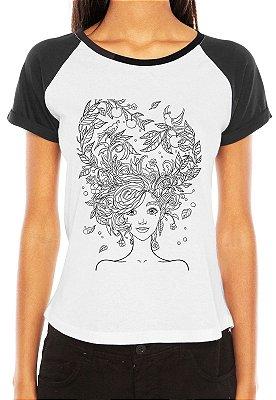 Raglan Feminina Cabelo Folhas - Customizadas/ Estampadas/ Camisetas - Personalizadas/ Customizadas/ Estampadas/ Camiseteria/ Estamparia/ Estampar/ Personalizar/ Customizar/ Criar/ Camisa Blusas Baratas Modelos Legais Loja Online