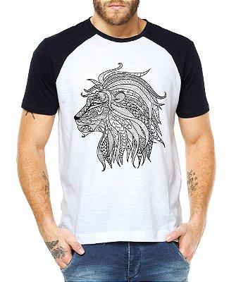 Raglan Masculino Leão Mandala - Personalizadas/ Customizadas/ Estampadas/ Camiseteria/ Estamparia/ Estampar/ Personalizar/ Customizar/ Criar/ Camisa Blusas Baratas Modelos Legais Loja Online