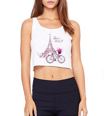 Top Cropped Branco Bonjour Paris Bicileta Torre - Modelos Femininos Comprar Online Camiseta Regata Roupa da Moda