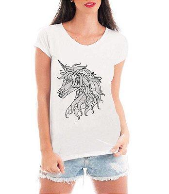 Blusa T-shirt Feminina Branca Unicornio Tattoo - Personalizadas/ Customizadas/ Estampadas/ Camiseteria/ Estamparia/ Estampar/ Personalizar/ Customizar/ Criar/ Camisa Blusas Baratas Modelos Legais Loja Online