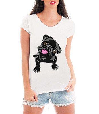 Blusa T-shirt Feminina Pug Preto Língua Dog Divertido - Personalizadas/ Customizadas/ Estampadas/ Camiseteria/ Estamparia/ Estampar/ Personalizar/ Customizar/ Criar/ Camisa Blusas Baratas Modelos Legais Loja Online