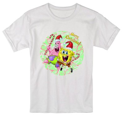 Camiseta Infantil Branca Natal Ano Novo Bob Esponja Réveillon - Personalizadas/ Customizadas/ Estampadas/ Camiseteria/ Estamparia/ Estampar/ Personalizar/ Customizar/ Criar/ Camisa Blusas Baratas Modelos Legais Loja Online