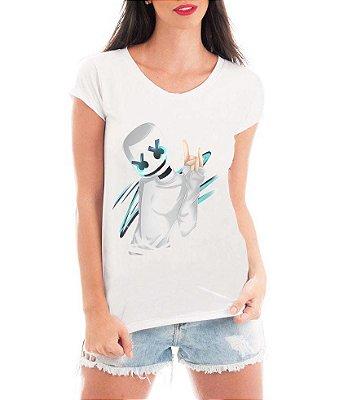 Camiseta Feminina Tshirt Blusa Feminina Marshmello Dj Eletronica  - Personalizada/ Estampadas/ Camiseteria/ Estamparia/ Estampar/ Personalizar/ Customizar/ Criar/ Camisa T-shirts Blusas Baratas Modelos Legais Loja Online