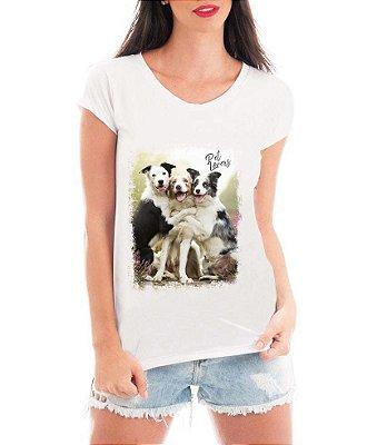 Camiseta Feminina Tshirt Blusa Feminina Border Collie Amo Cachorros- Personalizada/ Estampadas/ Camiseteria/ Estamparia/ Estampar/ Personalizar/ Customizar/ Criar/ Camisa T-shirts Blusas Baratas Modelos Legais Loja Online