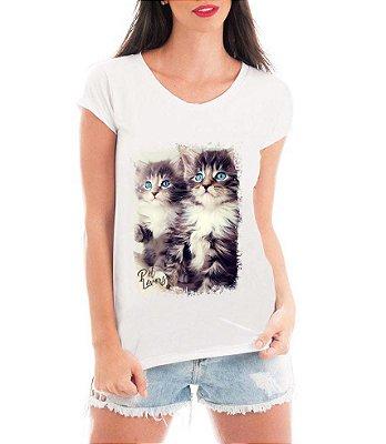 Camiseta Feminina Tshirt Blusa Feminina Gatos Apaixonantes - Personalizada/ Estampadas/ Camiseteria/ Estamparia/ Estampar/ Personalizar/ Customizar/ Criar/ Camisa T-shirts Blusas Baratas Modelos Legais Loja Online