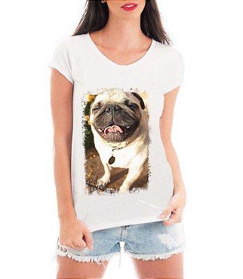 Camiseta Feminina Tshirt Blusa Feminina Pug Feliz Cachorro   - Personalizada/ Estampadas/ Camiseteria/ Estamparia/ Estampar/ Personalizar/ Customizar/ Criar/ Camisa T-shirts Blusas Baratas Modelos Legais Loja Online