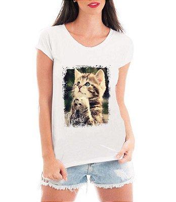 Camiseta Feminina Tshirt Blusa Feminina Gatinho Orando  - Personalizada/ Estampadas/ Camiseteria/ Estamparia/ Estampar/ Personalizar/ Customizar/ Criar/ Camisa T-shirts Blusas Baratas Modelos Legais Loja Online