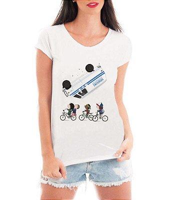 Blusa Feminina Stranger Things Onze Eleven Bicicleta Dustin Tshirt Camiseta - Personalizadas/ Customizadas/ Estampadas/ Camiseteria/ Estamparia/ Estampar/ Personalizar/ Customizar/ Criar/ Camisa Blusas Baratas Modelos Legais Loja Online