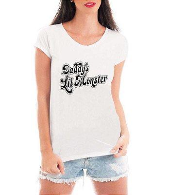 Blusa TShirt  Feminina Alerquina Daddy's Lil Monster    - Personalizadas/ Customizadas/ Estampadas/ Camiseteria/ Estamparia/ Estampar/ Personalizar/ Customizar/ Criar/ Camisa Blusas Baratas Modelos Legais Loja Online