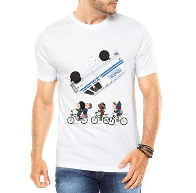 Camiseta Masculina Branca Cinza Stranger Things Bicicleta Onze Dustin Mike - Personalizadas/ Customizadas/ Estampadas/ Camiseteria/ Estamparia/ Estampar/ Personalizar/ Customizar/ Criar/ Camisa Blusas Baratas Modelos Legais Loja Online