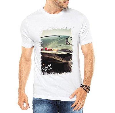 Camiseta Masculina Branca Carro Antigo Clássico Classic Style - Personalizadas/ Customizadas/ Estampadas/ Camiseteria/ Estamparia/ Estampar/ Personalizar/ Customizar/ Criar/ Camisa Blusas Baratas Modelos Legais Loja Online