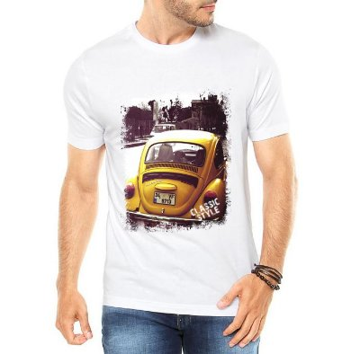 Camiseta Masculina Branca Fusca Amarelo Carro Antigo Clássico