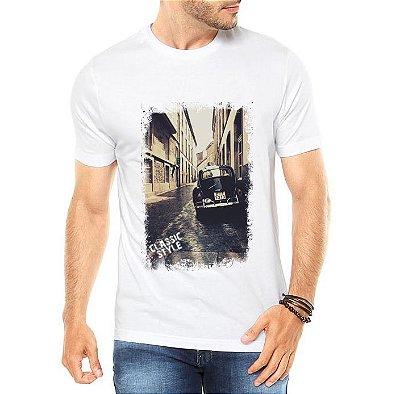 Camiseta Masculina Fusca Preto Carro Antigo Clássico Branca