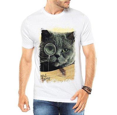 Camiseta Masculina Gato Lupa Tumbler Branca - Personalizadas/ Customizadas/ Estampadas/ Camiseteria/ Estamparia/ Estampar/ Personalizar/ Customizar/ Criar/ Camisa Blusas Baratas Modelos Legais Loja Online