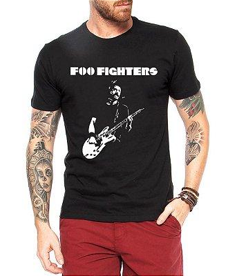 Camiseta Masculina Preta Foo Fighters Banda de  Rock - Personalizadas/ Customizadas/ Estampadas/ Camiseteria/ Estamparia/ Estampar/ Personalizar/ Customizar/ Criar/ Camisa Blusas Baratas Modelos Legais Loja Online