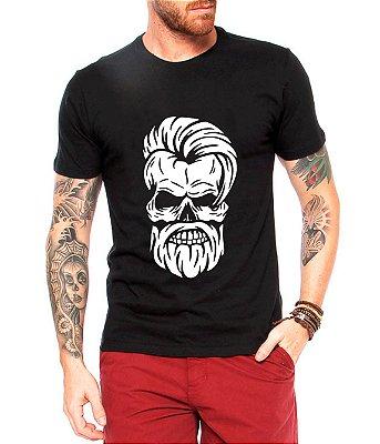 Camiseta Masculina Preta Caveira Estilosa Barbearia - Personalizadas/ Customizadas/ Estampadas/ Camiseteria/ Estamparia/ Estampar/ Personalizar/ Customizar/ Criar/ Camisa Blusas Baratas Modelos Legais Loja Online